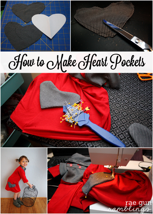 How to make heart pockets sewing tutorial - Rae Gun Ramblings