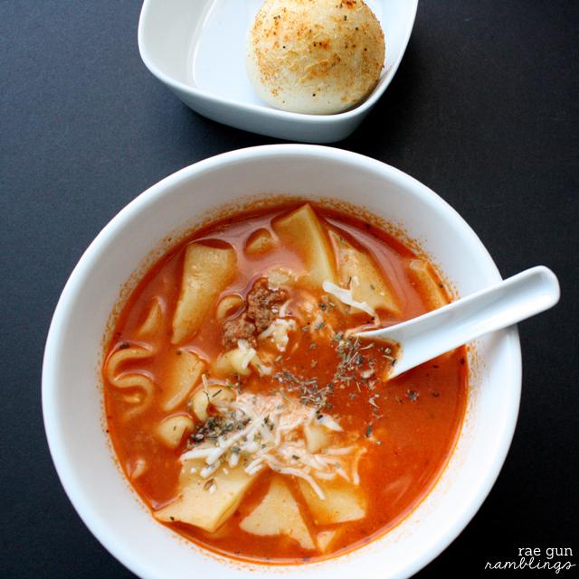My new favorite soup recipe. Crock Pot Lasagna Soup (freezable) - Rae Gun Ramblings Super easy Lasagna Soup recipe for the crock pot (freezable) - Rae Gun Ramblings #GameTimeGoodies #shop #cbias