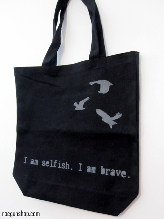 Divergent I am selfish I am brave book bag from raegunshop.com