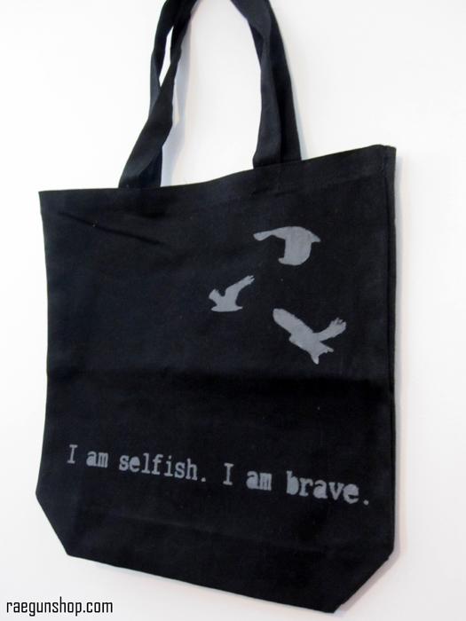 Divergent I am selfish I am brave book bag from raegunshop.com