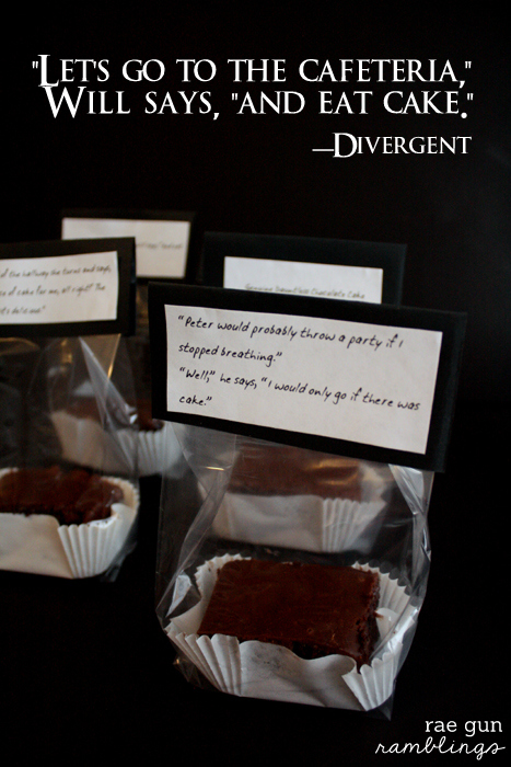 Great Divergent fan recipe and quote printable for Dauntless Chocolate Cake at Rae Gun Ramblings