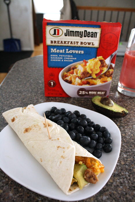 Easy Breakfast Burritos using Jimmy Dean breakfast bowls at Rae Gun Ramblings #RedboxBreakfast #PMedia #ad