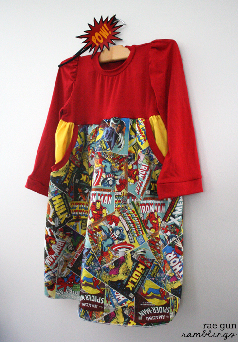 Girls love super heros too! DIY comic book dress and headband at Rae Gun Ramblings