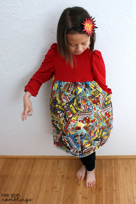 Super hero girls dress! Made from Go To Patterns' Belinda dress and Pow Headband Tutorial - Rae Gun Ramblings