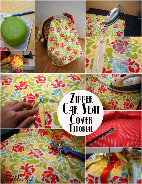 DIY Zipper Car Seat Cover full tutorial at Rae Gun Ramblings