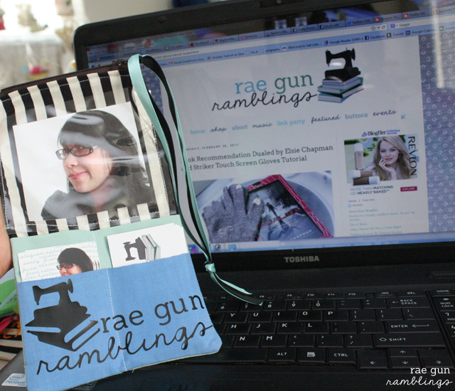 A business card bag that matches your blog and is convenient for networking. Tutorial at Rae Gun Ramblings