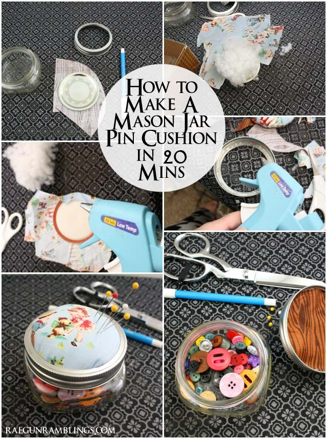 Step by step instructions for turning a glass jar into a cute pin cushion with storage - Rae Gun Ramblings