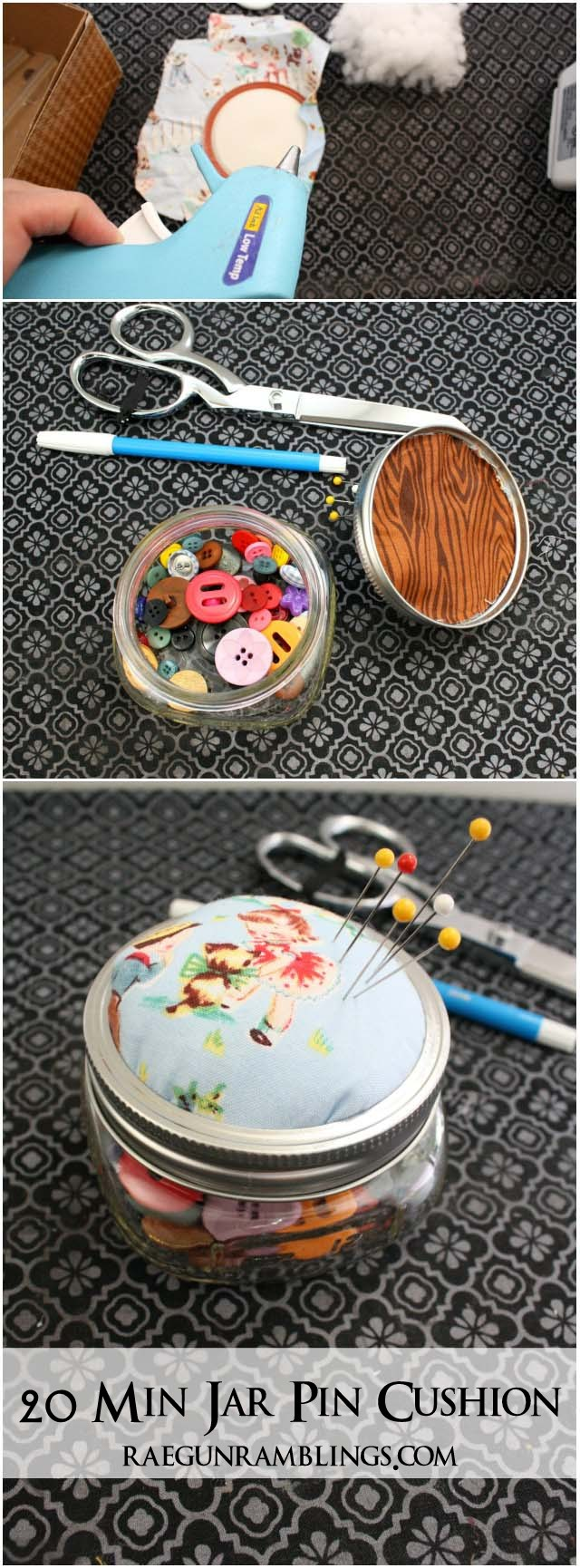 Fun quick project for scraps. Upcycle a mason jar into a pin cushion - Rae GUn Ramblings