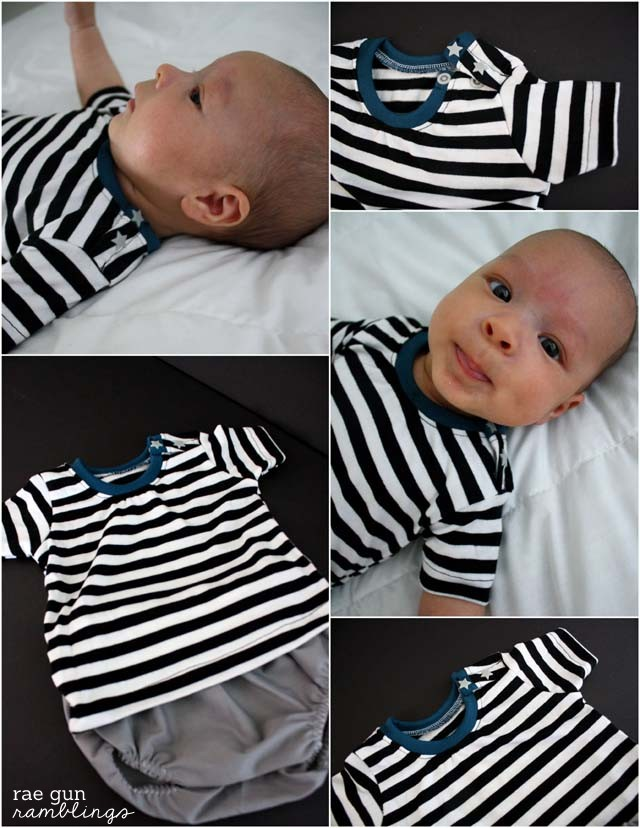 Cute boys sewing! Fast and easy snappy shirt easy to wear with pants or a simple diaper cover at Rae Gun Ramblings