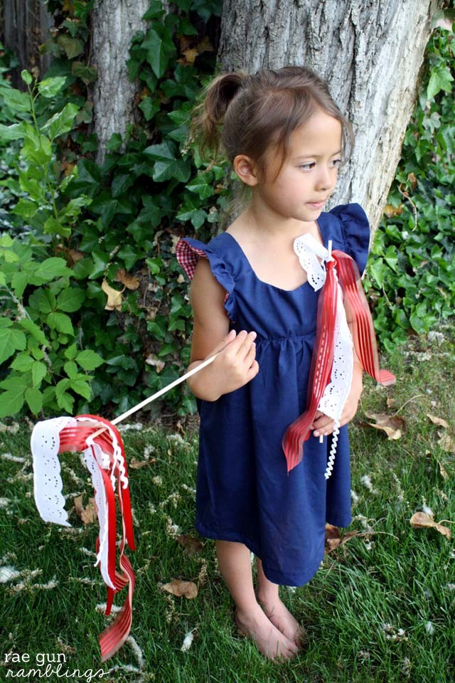 Easy festive ribbon sticks and Bohemian Baby doll sewing pattern at Rae Gun Ramblings