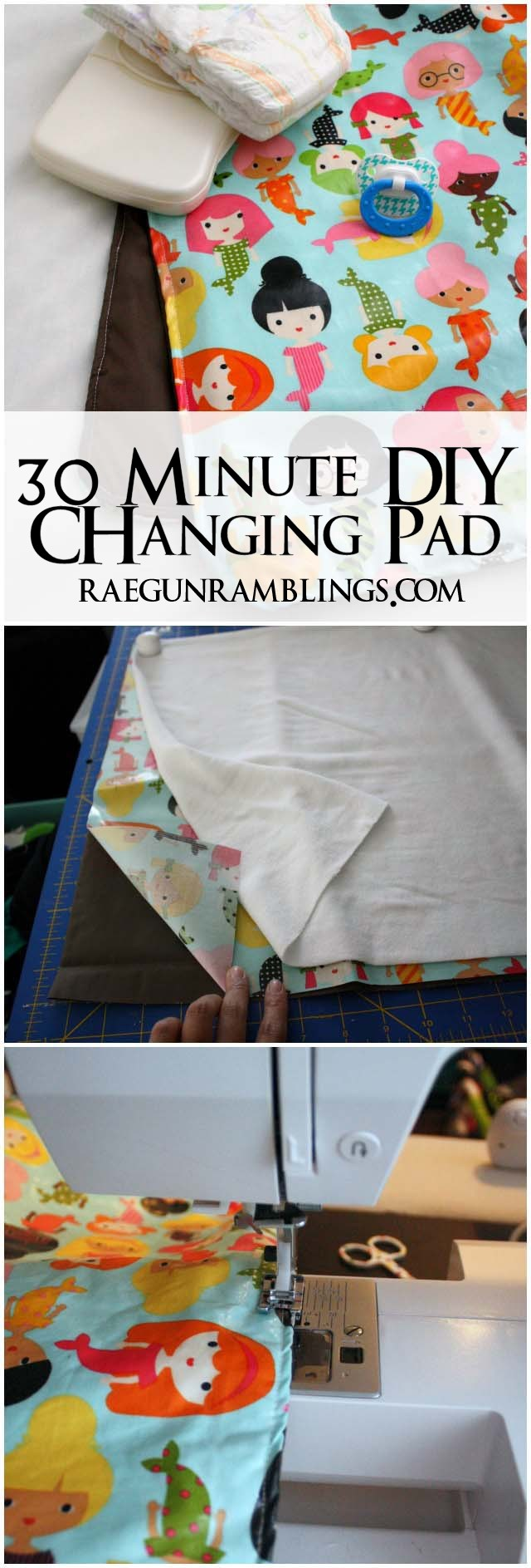 DIY washable baby changing pad. Free pattern at Rae Gun Ramblings