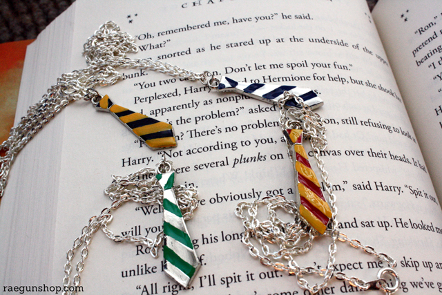 Cute tie necklaces for each of the Hogwarts Houses. from Rae Gun