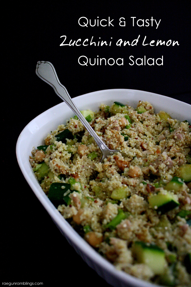 Fast and delicious quinoa salad with zucchini. I've made this a ton and it's very good. - Rae Gun Ramblings