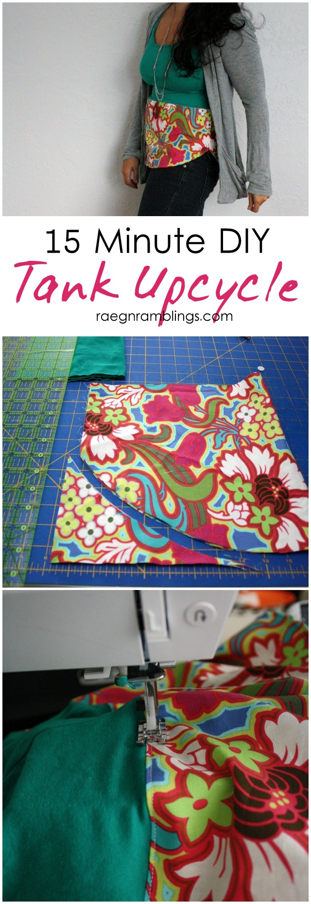 Just 1/4 yard fabric to turn a boring tank into a stylish top - Rae Gun Ramblings