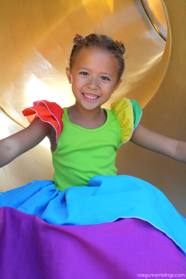 Easy Rainbow dress tutorial - Rae Gun Ramblings