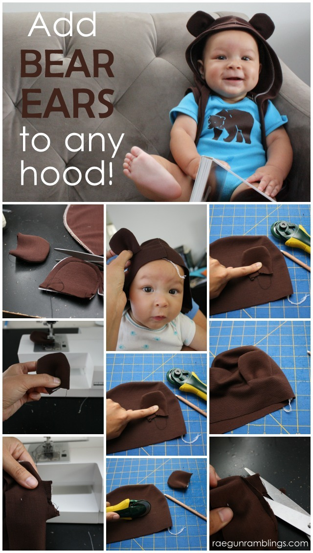 How to make and add Bear ears to any hood in 15 minutes - Rae Gun Ramblings