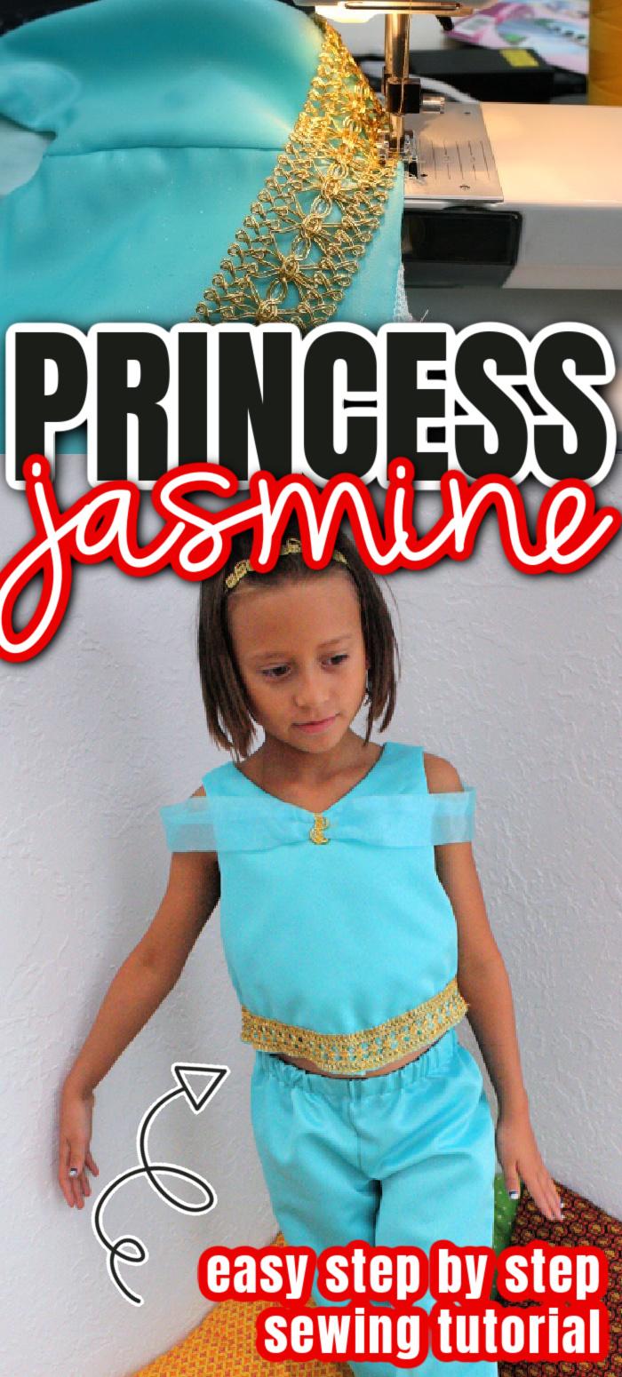 Easy diy princess jasmine costume sewing tutorial great for Halloween, trips to Disneyland or dress up. via @raegun