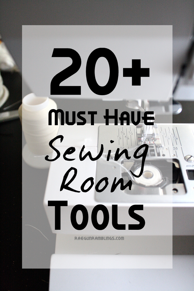 Great list of everything you need for a well stocked (but not over the top) sewing room. This is stuff that will actually be used - Rae Gun Ramblings