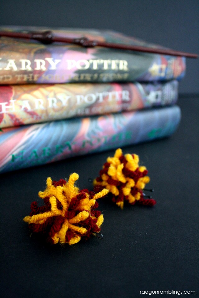 Gryffindor Harry Potter Pom Pom hair clips tutorial - Rae Gun Ramblings