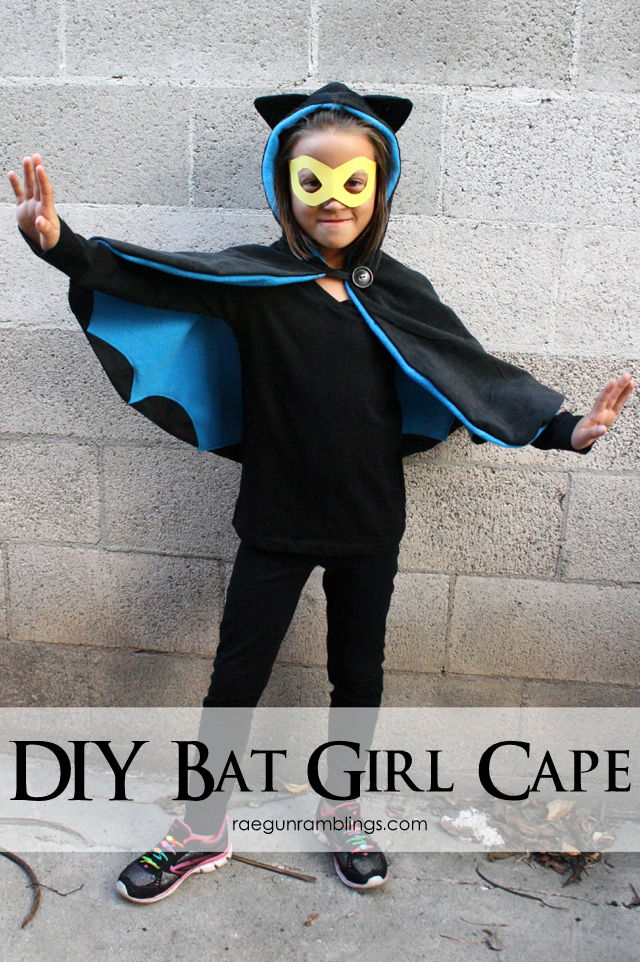 Easy DIY Bat Girl costume in under 1 hour - Rae Gun Ramblings #halloween #batman #batgirl #superhero
