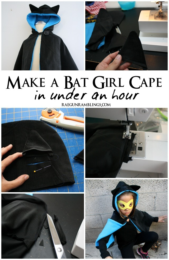 How to add bat or cat ears to a hood - Rae Gun Ramblings #costume #catwoman #batgirl