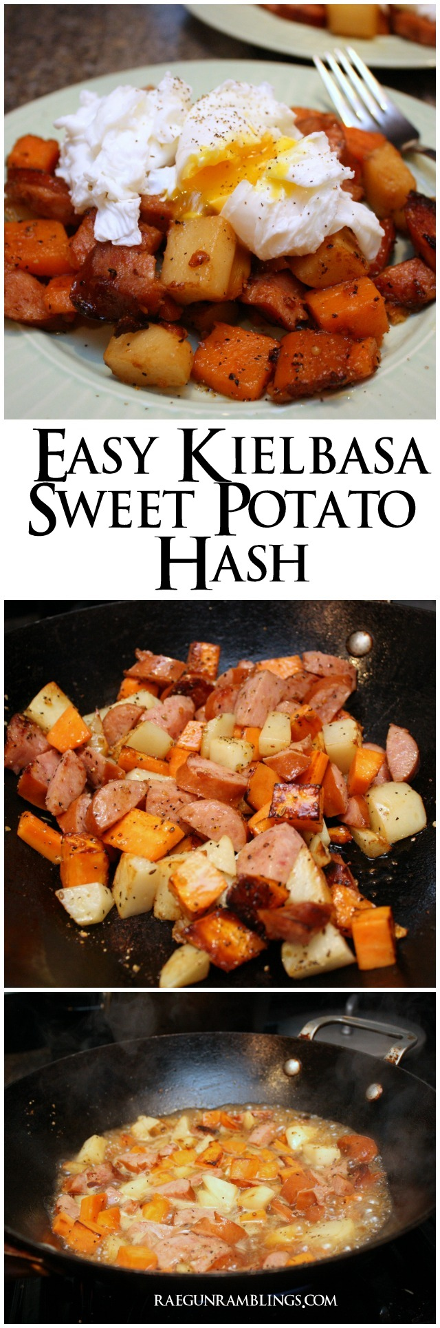 One of my favorite weeknight meals. Sweet potato and sausage hash. so easy and yummy recipe at Rae Gun Ramblings.com