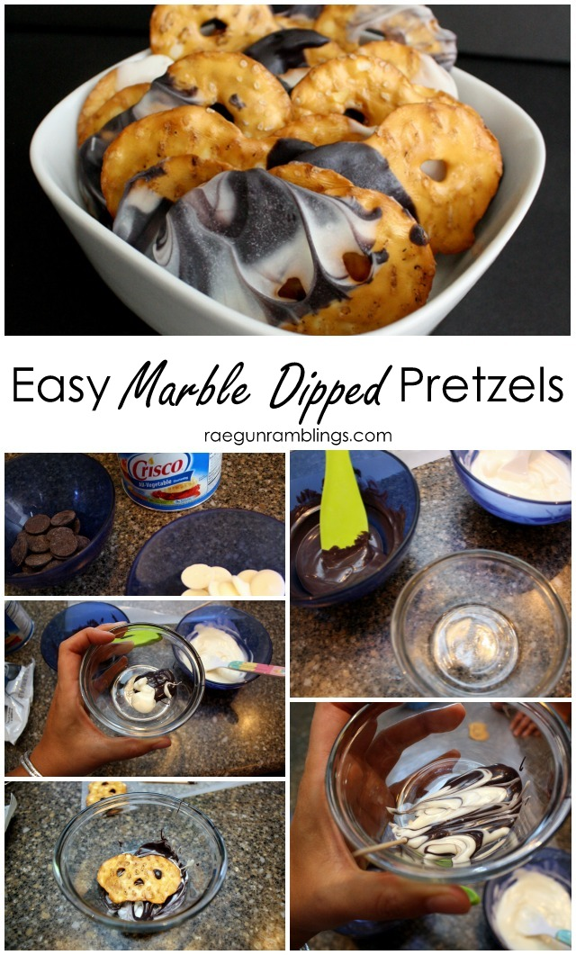 The best way to make marble dipped chocolate pretzels - Rae Gun Ramblings