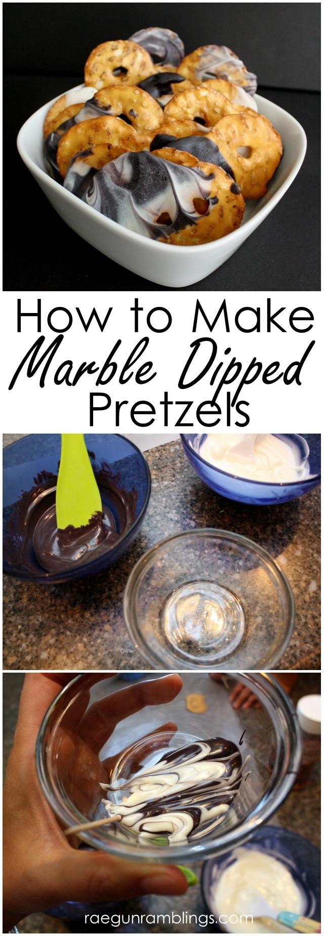 The easiest way to make marble chocolate dipped pretzels - Rae Gun Ramblings
