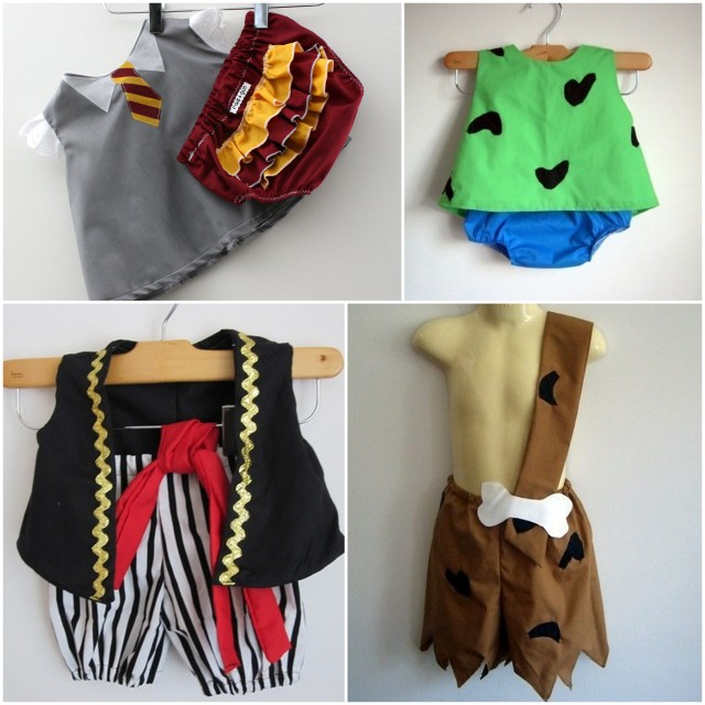 Darling baby and toddler halloween costumes from Rae Gun Shop - Rae Fun Ramblings #harrypotter #gryffindor #pirate #pebblesandbambam #pebbles #flintstones