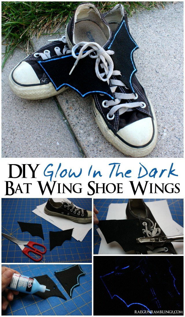 Quick and easy glow in the dark black light bat wing shoe wings tutorial - Rae Gun Ramblings