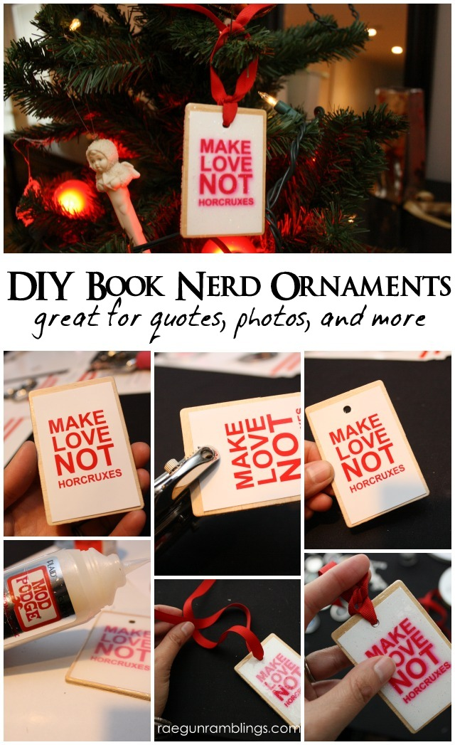 How to make easy Bookish Ornaments (also works great for any photo) - Rae Gun Ramblings