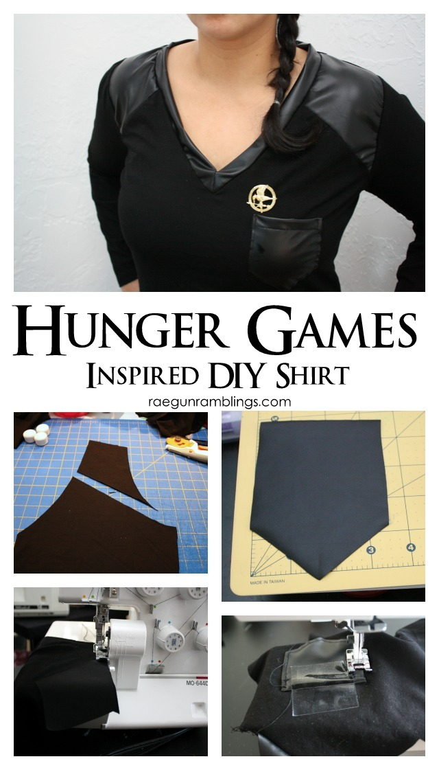 how to make faux leather detailed Hunger Games Inspired shirts - Rae Gun Ramblings