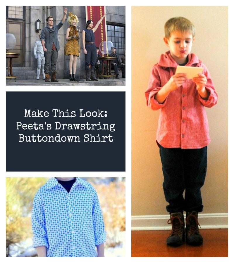 How to make a Peeta inspired drawstring collar button up shirt