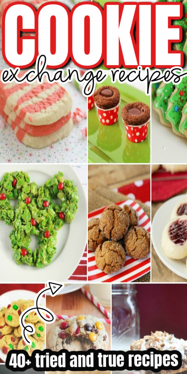 collage of christmas cookies for cookie exchange
