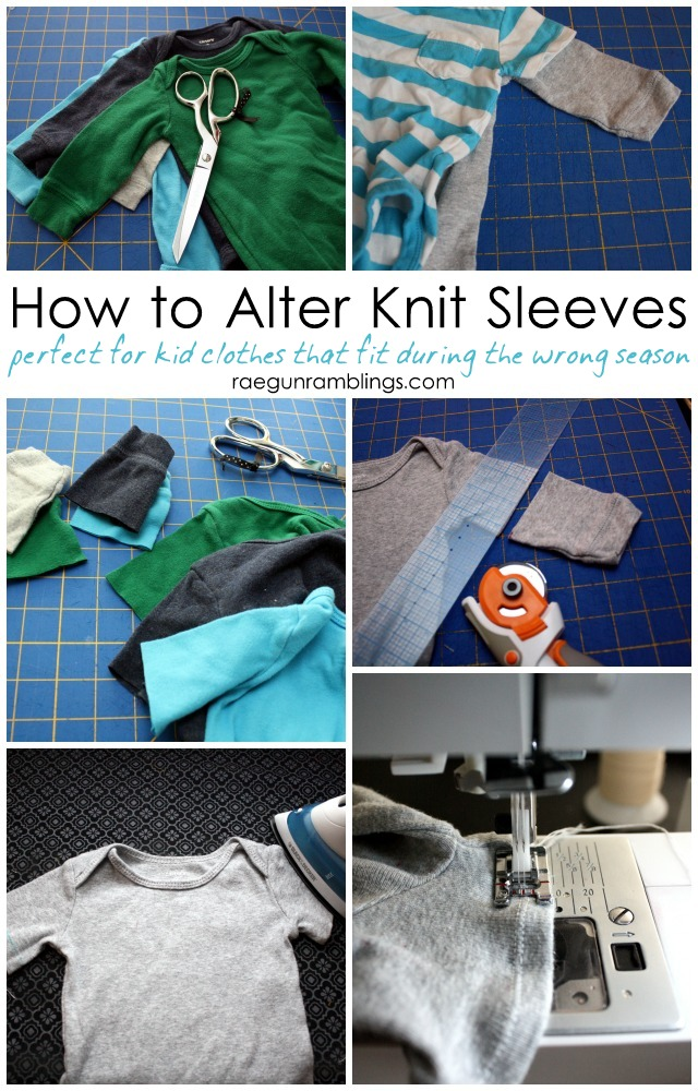 Great idea for getting more wear out of children's clothing. How to shorten and hem knit sleeves - Rae Gun Ramblings