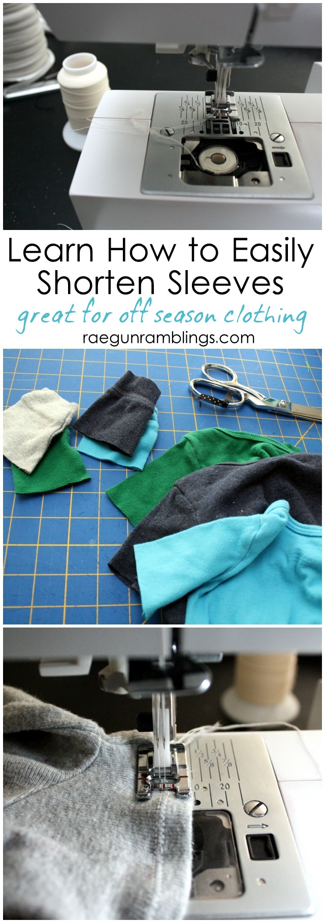 How to easily and professionally hem knit sleeves (great for extending the life of kid clothing) - Rae Gun Ramblings
