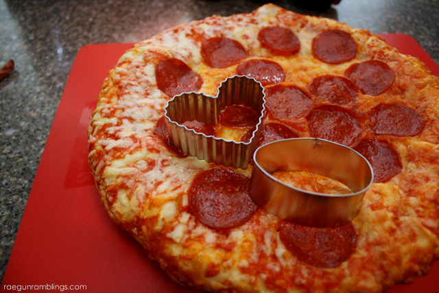 Turn a regular frozen pizza into darling pizza bites with cookie cutters - Rae Gun Ramblings