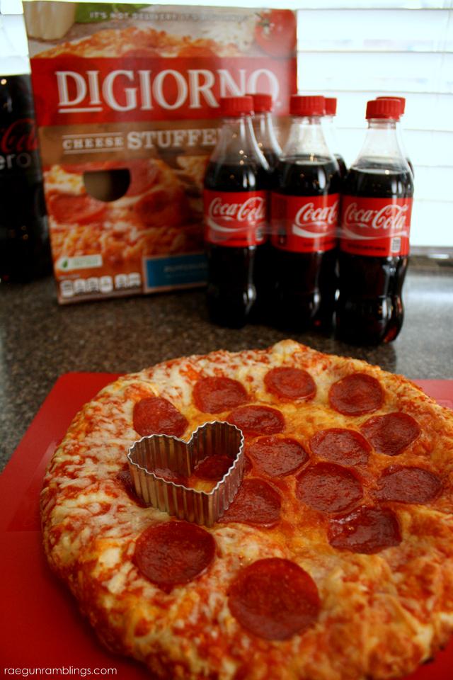 Easy Valentine's Day idea. Cut a frozen pizza into heart shaped bites - Rae Gun Ramblings
