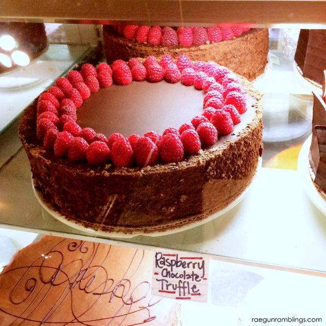 Raspberry Chocolate Cake sold by the slice at Salt Lake Roasting Co