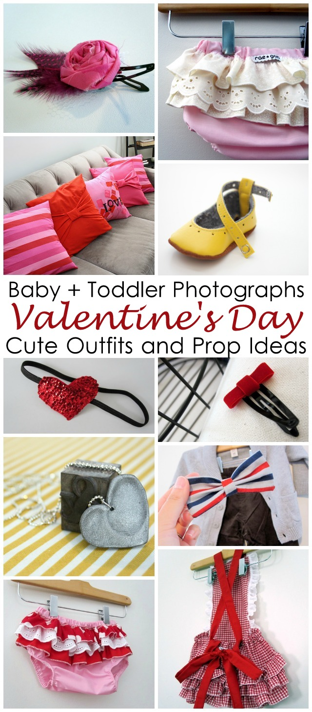 Cute outfit and photo styling ideas for baby Valentine's Day photos
