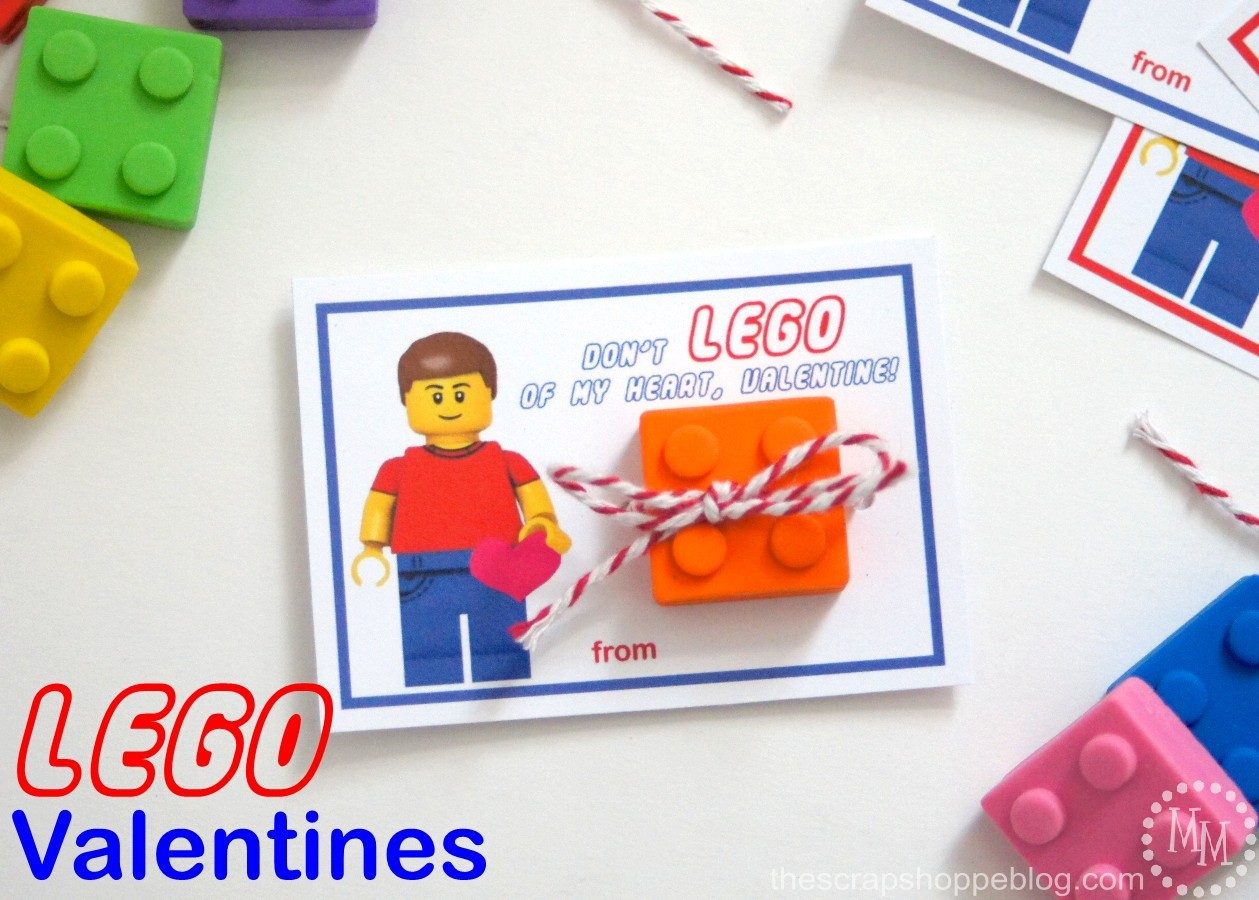 All those lego lovers will get a kick out of this cute Lego Eraser Valentine.