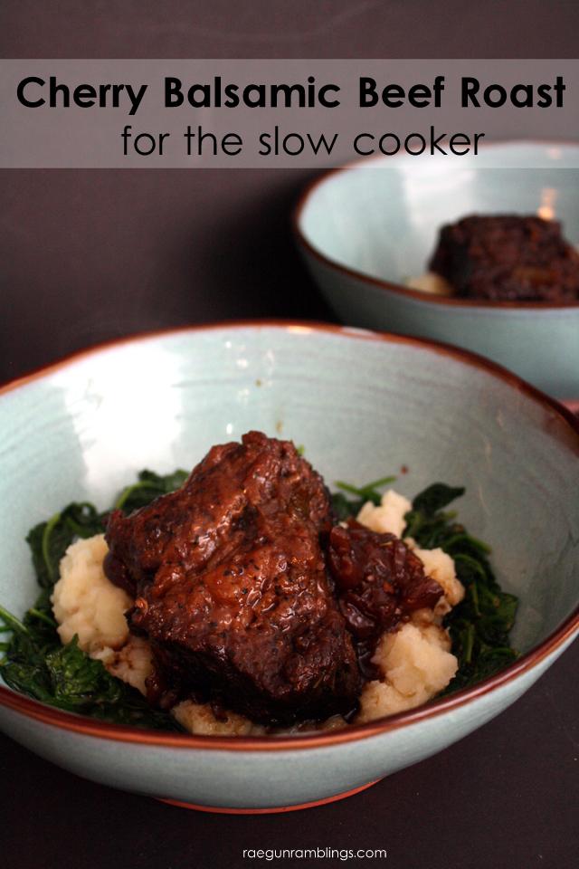 easy and super delicious balsamic cherry beef roast crock pot recipe - Rae Gun Ramblings