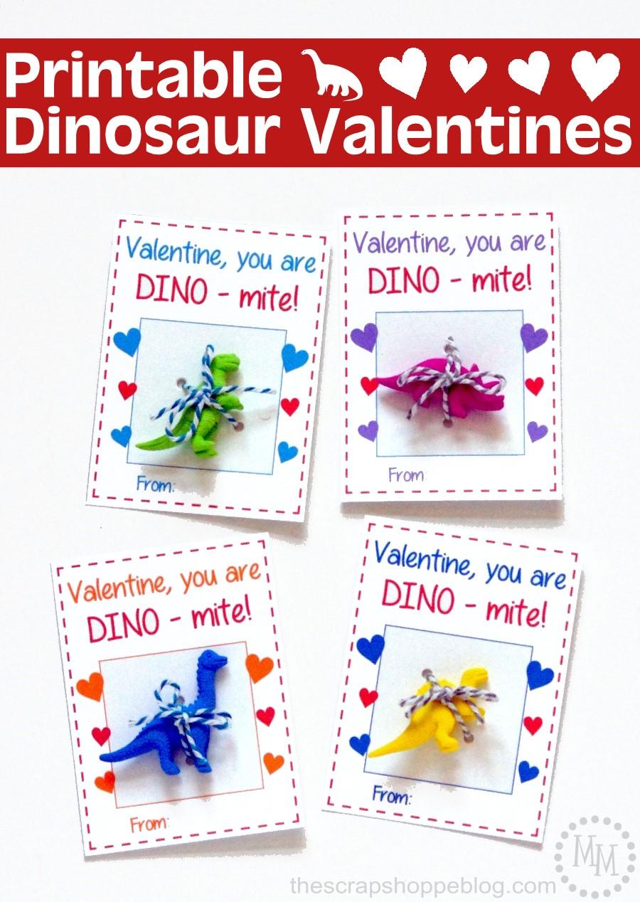 DIY DInomite Dinosaur Valentines with printables
