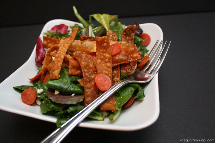 Delicious feta pepperoni salad. A great light side dish!