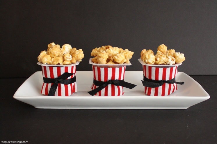 Quick and easy popcorn inspired pudding cup treats for movie night