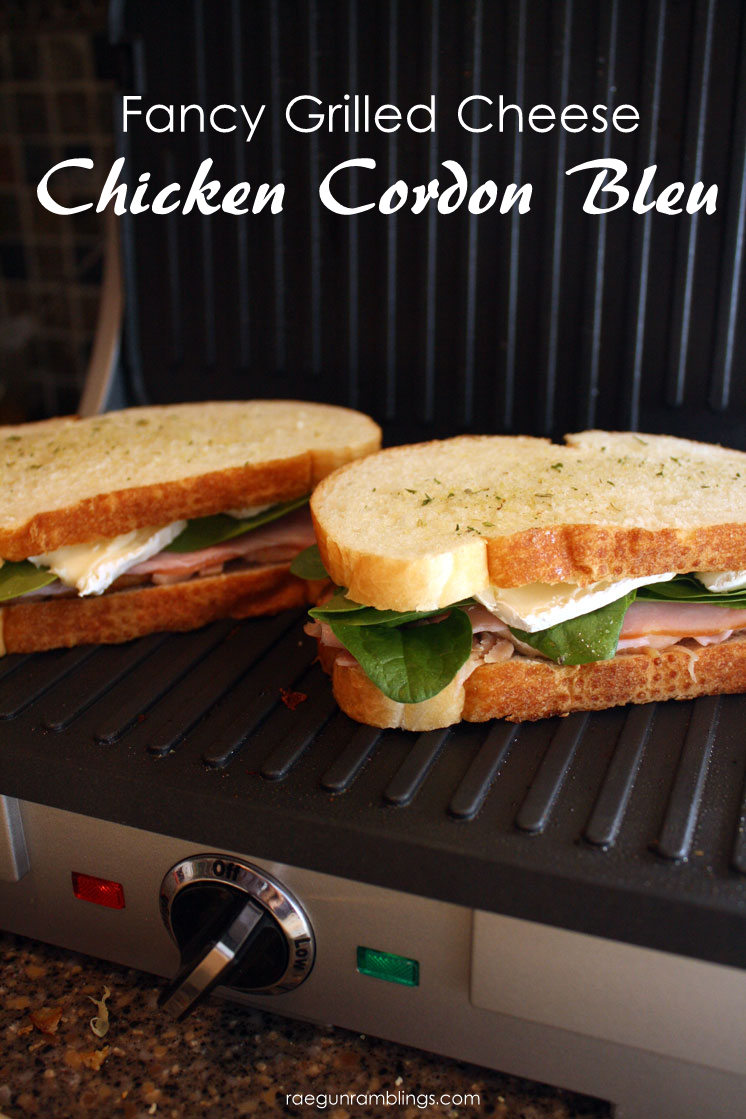 My new favorite grilled cheese recipe. Chicken Cordon Bleu pannini yum