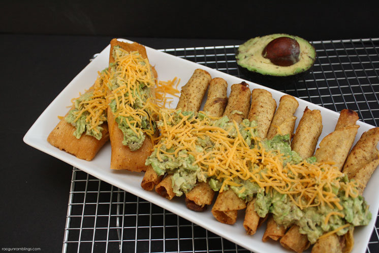 Delicious and easy tamales and taquitoes with fast avocado topping