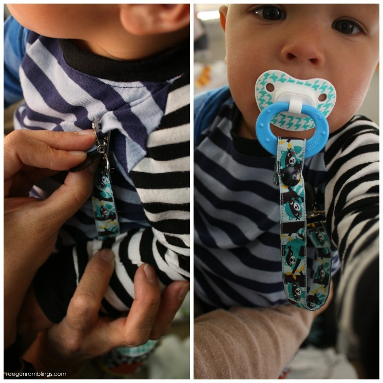 A DIY pacifier clip that baby can't pull off. Step by step instructions for 15 minute tutorial