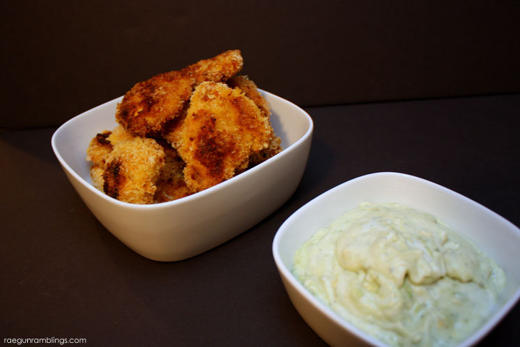 Quick and easy curry chicken fingers. Love this recipe so much and the bonus avocado ranch dipping sauce.
