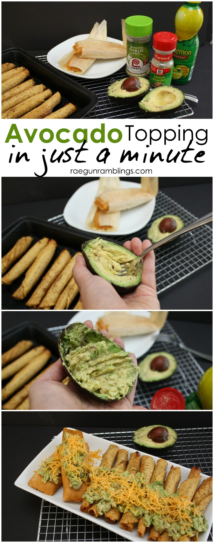 The best avocado topping for taquitoes and tamales. Takes just a minute to make.
